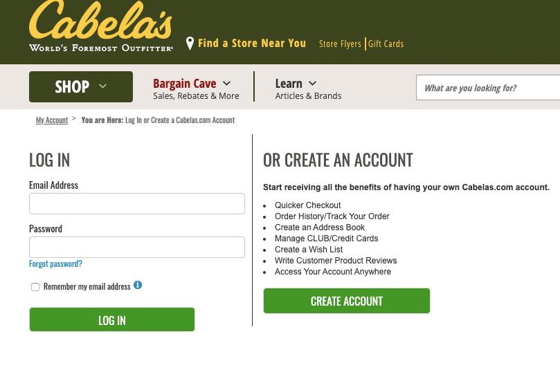 Cabela'sClub login