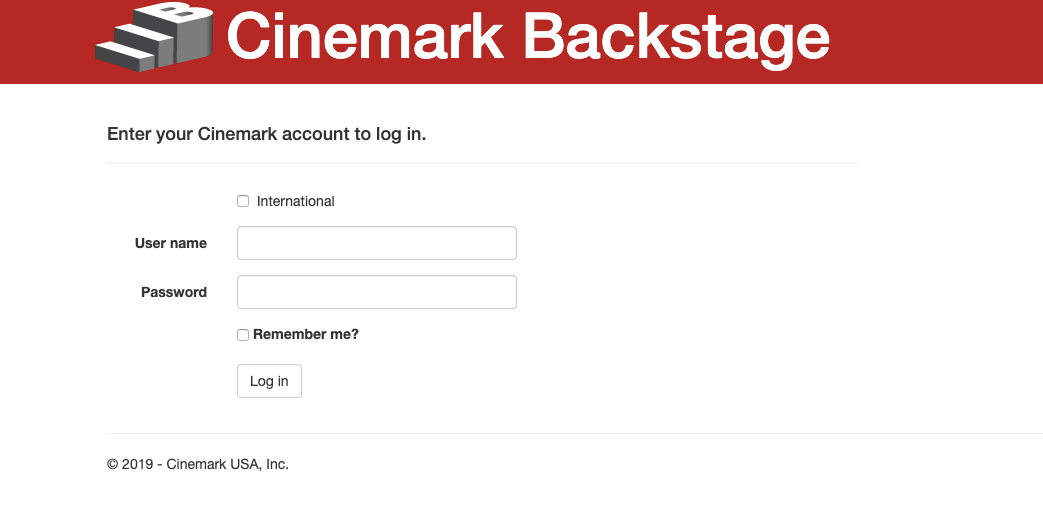 Cinemark Backstage Employee Login