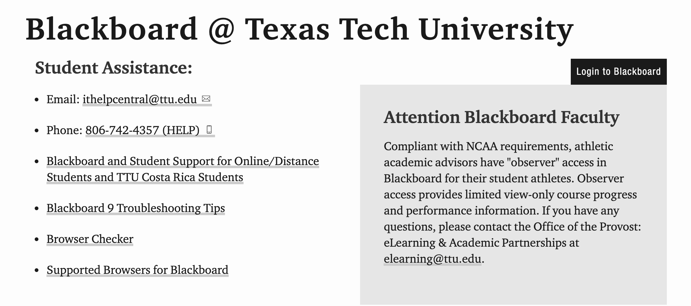 Blackboard Ttu Login Texas Tech Blackboard Sign In Guide