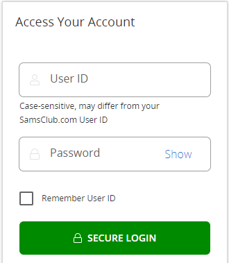 Sam's Club credit card Login