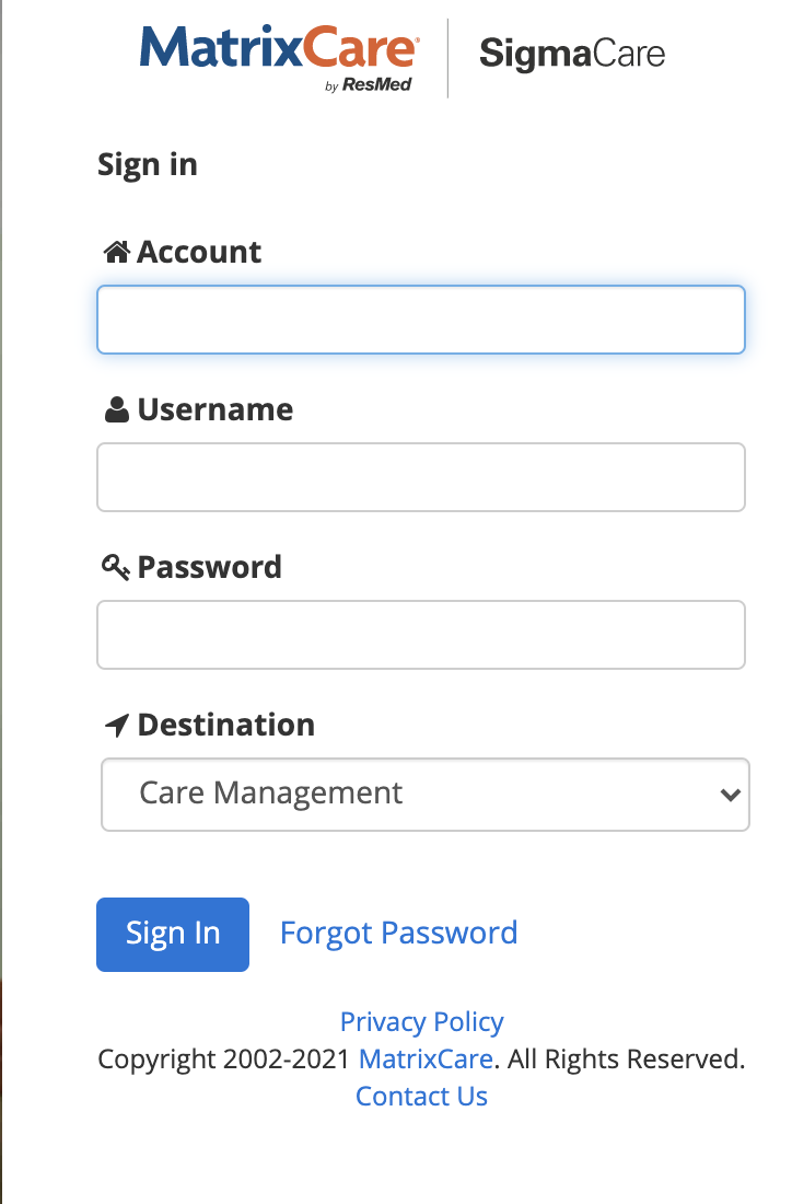 Sigmacare Sign in Online