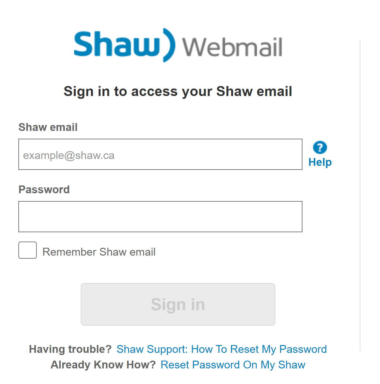 shaw email login